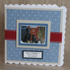 Handmade Christmas Card made with Christmas moments by Pollyanna Pickering Christmas Cards To Make, Christmas Dog, Xmas Cards, Handmade Christmas, House Mouse, Animal Cards, Charity, Card Making, Merry