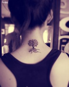 Simple and elegant tree tattoo with leaves and roots on the back of the neck. It would be fun to redesign with words in the roots or branches! #trees #necktattoo #inspiration