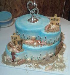 O & H Danish Bakery Beach Themed Wedding Cake Source Buttercream Wedding Cake, Buttercream Icing, Danish Bakery, Beautiful Wedding Cakes, Wedding Favors, Wedding Ideas, Cupcake Cakes, Cupcakes, Beach Themes