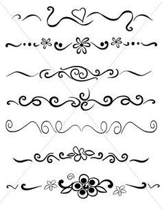 SVG Flourish Divider Lines Underlines PDF JPG Files Fancy Swirls and Ornamental Borders Hand Drawn Elements Free To Use Images, Brush Lettering, Bullet Journal Inspiration, Arabesque, Doodle Art, Cricut Design, Swirls, Alphabet, Graffiti
