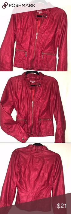 Charlotte Russe red faux moto jacket, size L A great color that will stand out in any crowd. Flattering seam lines zipper closure, bronze hardware, two front zipper pockets, slight flair at the bottom, collar with buckle closure for added warmth, lined and cute detail along neckline.  Great condition, hardly been warn. Sleeves also have buckle detailing. Polyurethane shell and polyester lining Charlotte Russe Jackets & Coats