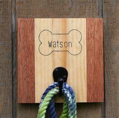 Handcrafted customizable dog leash holder/hanger https://www.etsy.com/listing/249528809/custom-leash-holder