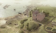 Illustrated reconstruction of Ardrossan Castle, Ayrshire, Scotland Fantasy Castle, Fantasy Map, Medieval Fantasy, Medieval Fortress, Medieval Castle, Architecture Old, Historical Architecture, Castillo Feudal, Small Castles