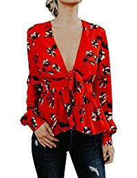 New Gobought Womens Tops Floral Long Sleeve Plunge V Neck Drawstring Crop Blouse T Shirt Tunic online. Find the perfect LeggingsQueen Tops-Tees from top store. Sku JPYW57518AUGT70692
