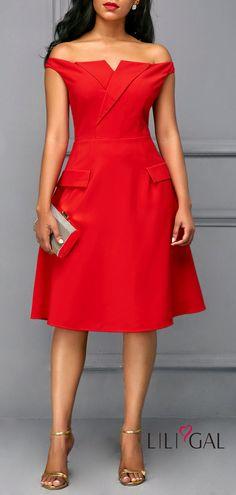 Red Off the Shoulder Short Sleeve Dress   #liligal #dresses #womenswear #womensfashion