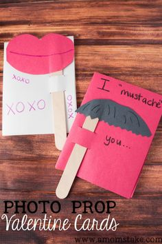 Photo Prop Valentines for Kids #mustache #valentinesday