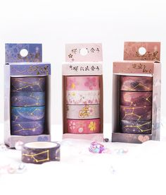 Add spark to your everyday creations with this beautiful set of washi tapes. These decorative masking tapes are printed with gorgeous gold foil illustrations of star constellations on colorful nebula background. Masking Tape Art, Washi Tape Set, Washi Tape Planner, Washi Tape Storage, Washi Tape Crafts, Duct Tape, Stationary Supplies, Cute Stationary, Art Supplies