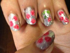 Flower nails :)  #flowers #roses #sinfulcolors #pureice #newyorkcolor #wetnwild #nails #nailart #nailpolish #flowernails