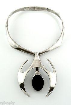 Superb Vintage 1980s Sculptural Miguel Pineda Taxco Modernist Sterling & Black Onyx Necklace