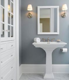 Solitude by Benjamin Moore looks amazing in this bathroom designed by Eminent Interior Design. 🙌🏻😬 Solitude is one of of my favorite colors to recommend because it always works beautifully in spaces with little natural light. Put it on your radar for sure! It's a fantastic color! #designinspo #bathroom #paintcolor #benjaminmoore