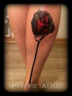 #rose #tattoo #calf #lady by Bizduianu Mihai