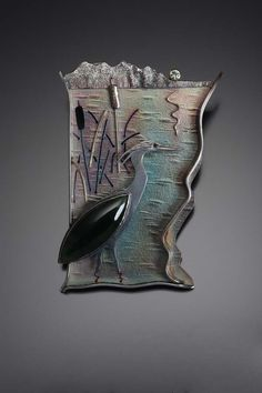 Heron in Wetlands - Art Jewelry Magazine - Jewelry Projects and Videos on Metalsmithing, Wirework, Metal Clay