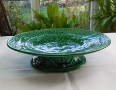 Antique Victorian Green Leaf Majolica Pedestal Cake Stand Plate Tazza Compote in Pottery, Porcelain & Glass, Pottery, Majolica   eBay!
