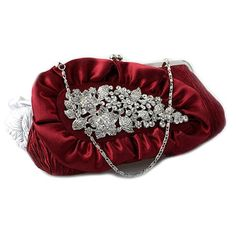 Designer Burgundy Silk Wedding Party Evening Ball Clutch Bag Purse Shop  SKU-1110430