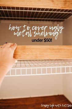 linencloset organization bathroomideas cover ugly metal shelving with faux floating shelves This budget friendly DIY will completely transform your pantry linen closet or bedroom closets Bathroom Linen Closet, Bedroom Closets, Shelves For Bathroom, Ikea Hack Bathroom, Bathroom Wainscotting, Small Bathroom, Ideas Para Madera, Home Renovation, Home Remodeling