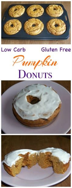 These low carb gluten free pumpkin cake donuts are made with peanut flour and topped with a sweet sugar free icing. Low Carb Yum Keto Banting Breakfast Dessert Recipe -easy Modify for Paleo Low Carb Donut, Low Carb Sweets, Low Carb Desserts, Gluten Free Desserts, Gluten Free Recipes, Low Carb Recipes, Dessert Recipes, Diet Recipes, Recipes Dinner