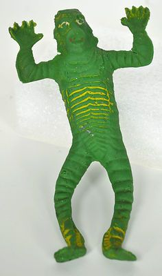 Vintage 1970's AHI Vic's Creature Black Lagoon Rubber Jiggler Monster Toy well played with!