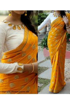 Buy Online Beutiful Yellow colour Two Tone Designer Classic Georgette Saree