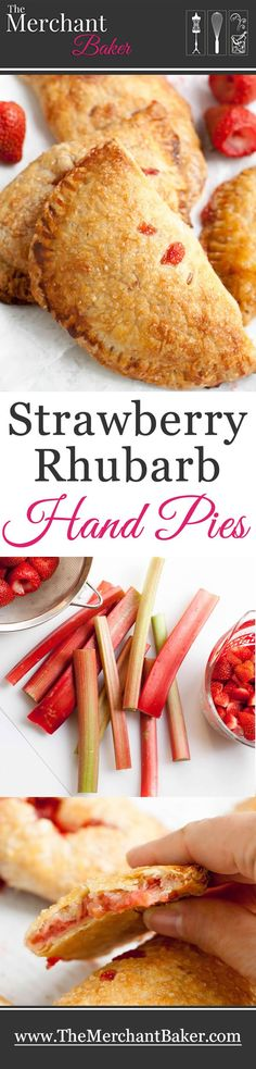 Strawberry Rhubarb Hand Pies. Sweet strawberries and tart rhubarb are tucked inside a delicious, flaky and tender, easy to make, all butter pie crust.