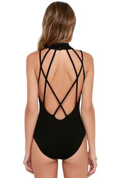 Black Strappy Hollow-out Back Bodysuit