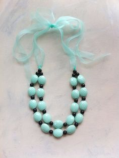 Seafoam and Black Faceted Beaded Double by EclecticOrnaments, $38.00.... want this in a darker blue!!!
