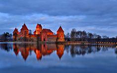 Zamek, Most, Rzeka, Drzewa, Odbicie