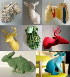 Rachel Denny uses old knitted sweaters to create these adorable and tactile  deer heads, rabbits and many other animals. The result is a whole new perception of old-fashioned wall decorations