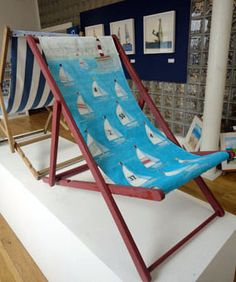 Up Cycled Deck Chair Mixed Media   Www.joannewishart.co.uk