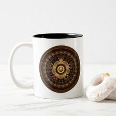 #Gathering the Five Fractal Jewel Colors of Magic Two-Tone Coffee Mug - diy cyo customize personalize design