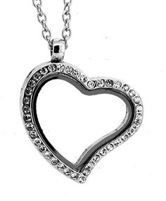 Heart See Through Glass Memory Floating Charm Locket Pendant Necklace (Rhinestone Silver Tone) ** Read review @