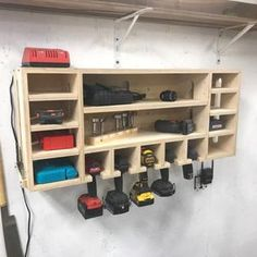 Cordless Drill and Charging Station | Etsy Power Tool Storage, Garage Tool Storage, Workshop Storage, Garage Tools, Diy Storage, Garage Shop, Diy Garage Shelves, Garage Storage Solutions, Workshop Design