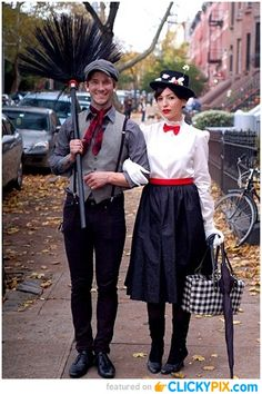 Mary Poppins and Burt :)  Funny and Creative Halloween Costumes (22 images)