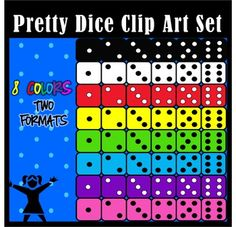 Here is a set of 96  bright and colorful dice clip art pieces for your personal and commercial uses. These are great for creating Math resources and is especially handy when teaching kids the skill of subitizing. I have created them in these vibrant colors and in png and jpeg formats.