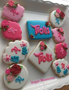 Trolls cookies Costume Birthday Parties, Trolls Birthday Party, Troll Party, Blue Birthday, Baby Girl Birthday, Birthday Fun, Birthday Ideas, Birthday Cookies, Birthday Favors