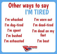 Other ways to say: I'm tired Vocabulary List, Grammar And Vocabulary, English Vocabulary, English Grammar, English Language, Other Ways To Say, Im Tired, Ielts, Creative Writing