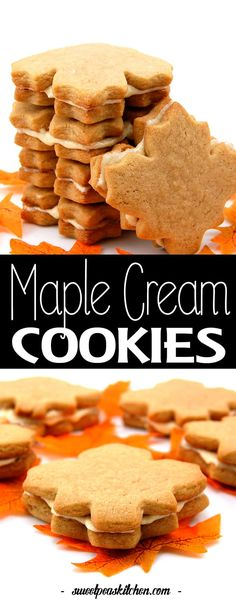 These maple cream cookies are flavorful, gorgeous, and easy to make. This maple cookie recipe is a hit at parties too. Maple leaf cookies are heavenly! Maple Cream Cookies Recipe, Maple Leaf Cookies, Sugar Cookies Recipe, Cookies And Cream, Fall Cookie Recipes, Cut Out Cookie Recipe, Cut Out Cookies, Dessert Recipes, Best Cutout Cookie Recipe