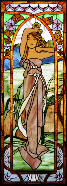 Mucha Brightness of Day (stained glass window based off of the original painting by Alphonse Mucha) by Avogel57 on DeviantArt