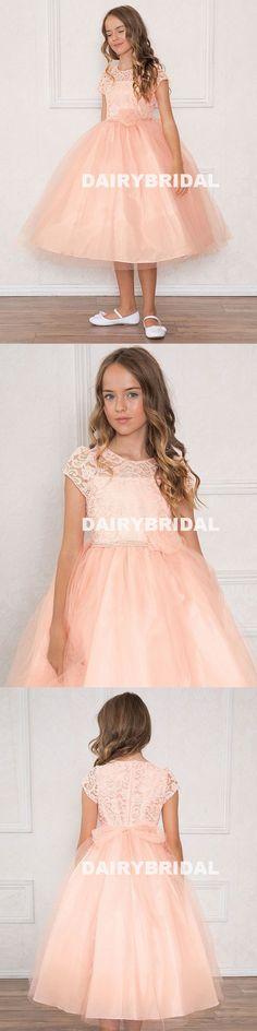 Cap Sleeve Lace Top Flower Girl Dresses, Round Neckline Flower Lovely Little Girl Dresses, D547 #flowergirldress