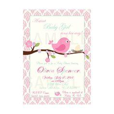 Bird invitation - bird baby shower invitation - bird invite - bird birthday - pink aqua bird printable - coral bird invitation