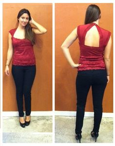 Burgundy Top by Sievergate with Black Denim Skinnies by Flying Monkey ~ Apricot Lane Boutique South Florida