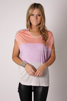 paint the town top - grey/coral/lilac