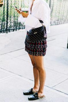 Oversized blouse + beaded miniskirt
