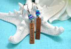 CLEARANCE Blessed / Artisan Copper & Natural Brass Hand Stamped Earrings // Religious