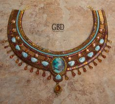 copper colored bead embroidered collar with Tila beads, bugles, cabochons - Guzel Bakeeva Designs