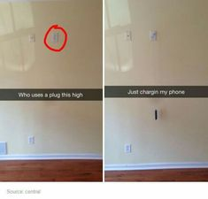 lol honestly this is so funny, but stupid at the same time, bc those chargers way up there r used for tvs that u hook into the wall