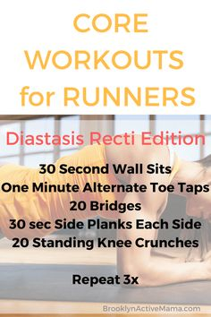Check out Abs Exercises You Can Do For Diastasis Recti and 5 other abs exercises in our workouts for runners series! Diastasis Recti Exercises, Ab Exercises, Fitness Exercises, Fitness Tips, Health Fitness, Fitness Motivation, Fitness Routines, Fitness Plan, Health Club