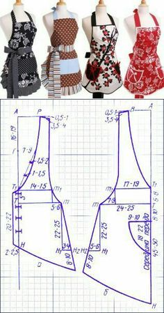 Tuto : Comment Faire tablier de cuisine – … Tuto: How to Make Kitchen Apron – 'Or' What Sewing Aprons, Dress Sewing Patterns, Sewing Patterns Free, Free Sewing, Sewing Clothes, Clothing Patterns, Sewing Tutorials, Sewing Hacks, Diy Clothes
