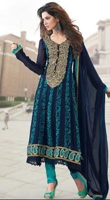 Sparkling Dark Blue Chudidar Kameez | Kaneesha