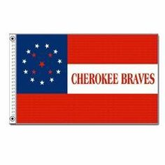 Cherokee Braves Historical Civil War Flag 3x5 foot Super poly by SevenBros. $5.50. 3x5 foot. heavy grommets new header. two grommets for hanging or flying. 4 row stitchin where it counts, on the fly side.. Poly Nylon blend. SevenBros brand historical flag.  Best available for price.