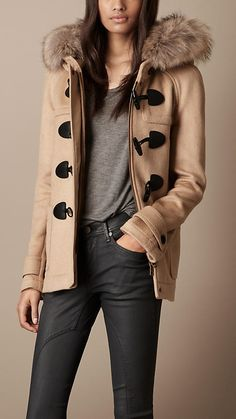 Fur Trim Hooded Duffle Coat | Burberry
